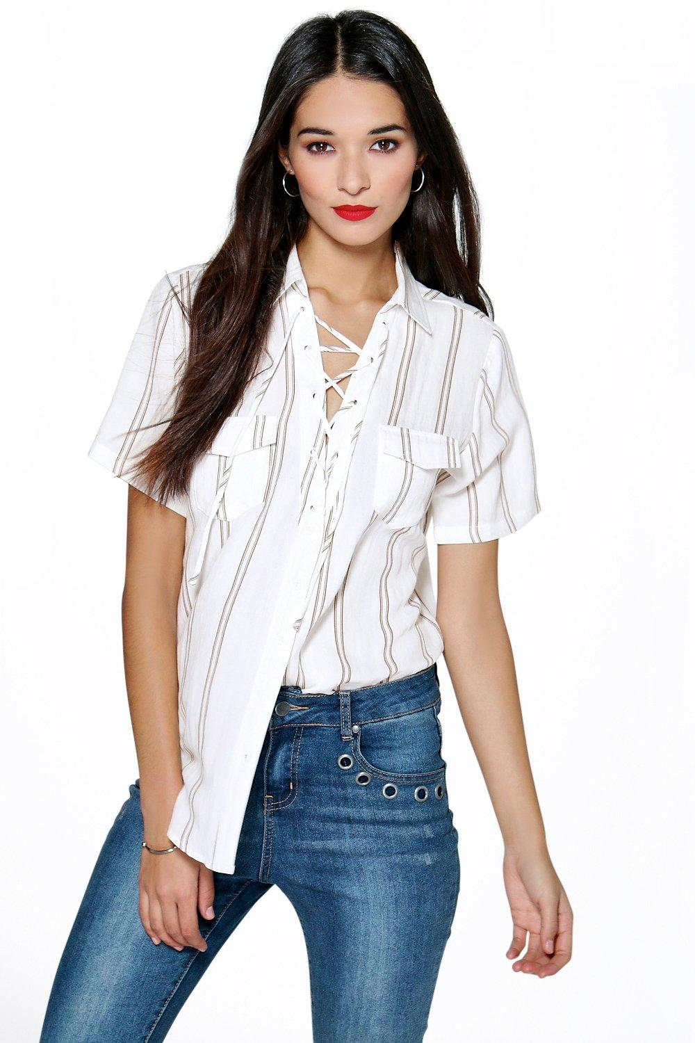 Steph Lace Up Stripe Pocket Shirt