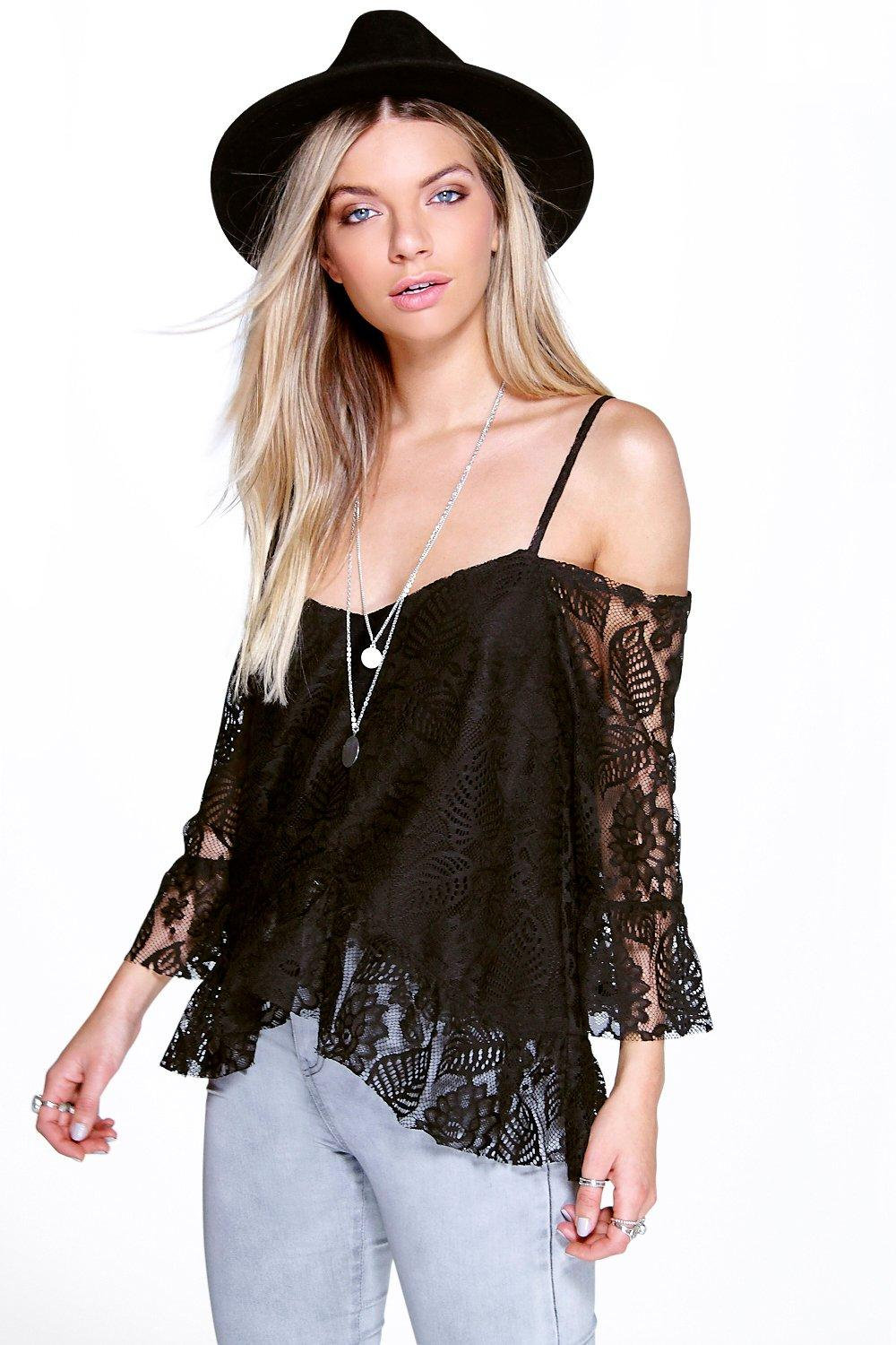 Hannah Lace Open Shoulder Frill Top