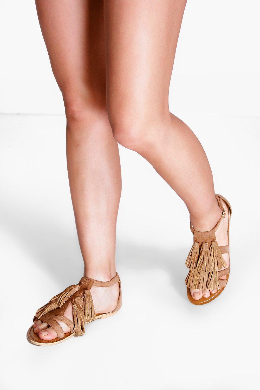Product photo of Zoe multi fringe suede sandal tan