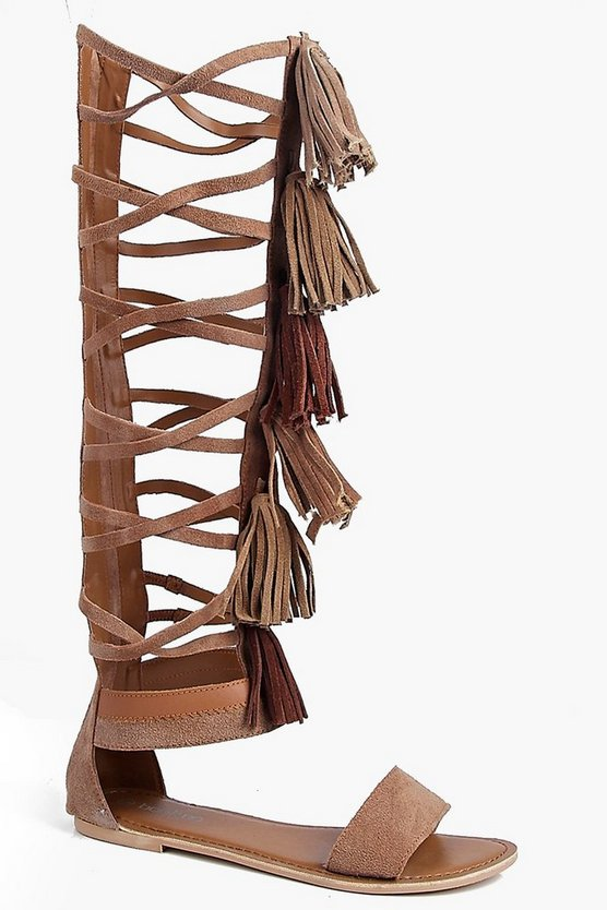 Boutique Amy Knee High Suede Fringe Gladiator