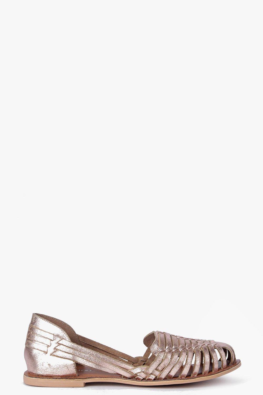 Boutique Kayla Metallic Leather Woven Ballet
