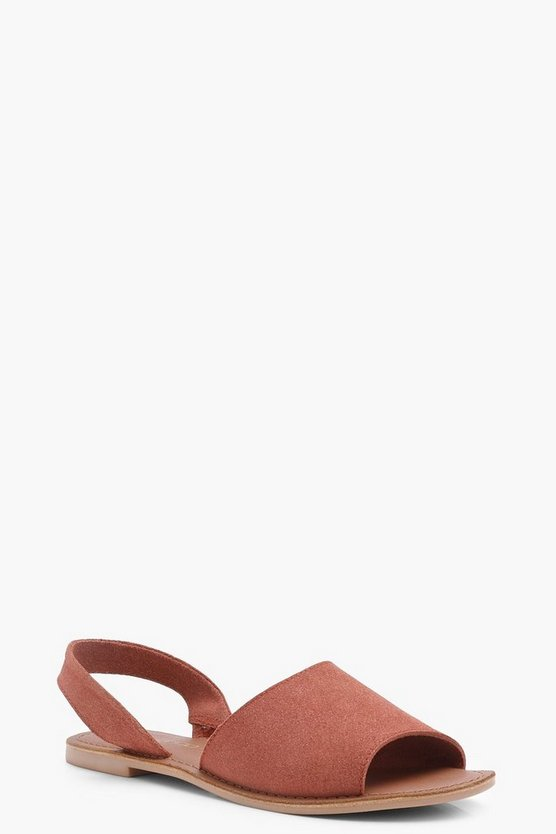 Boutique Mia 2 Part Peeptoe Suede Sandals