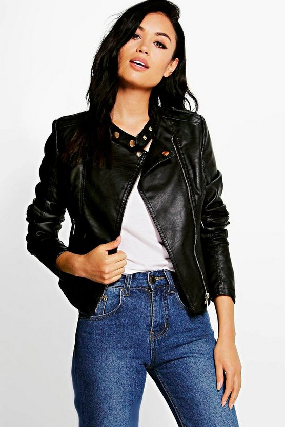 Jaslene Faux Leather Biker Jacket