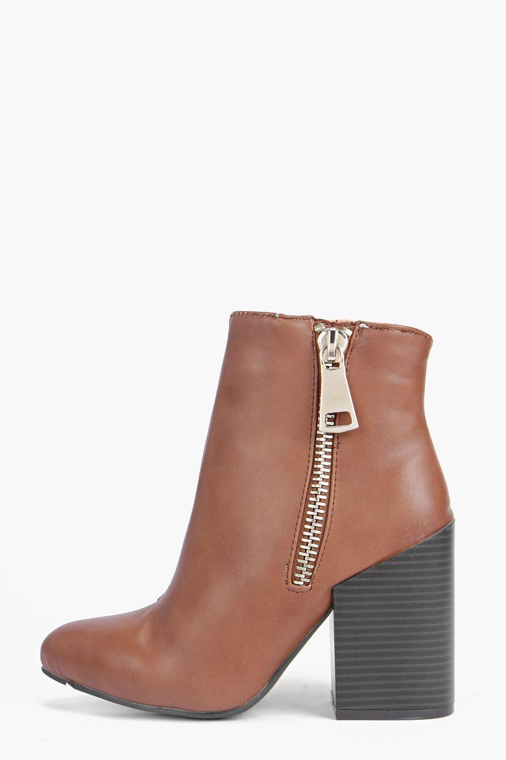 Anna Pointed Block Heel Zip Side Boot