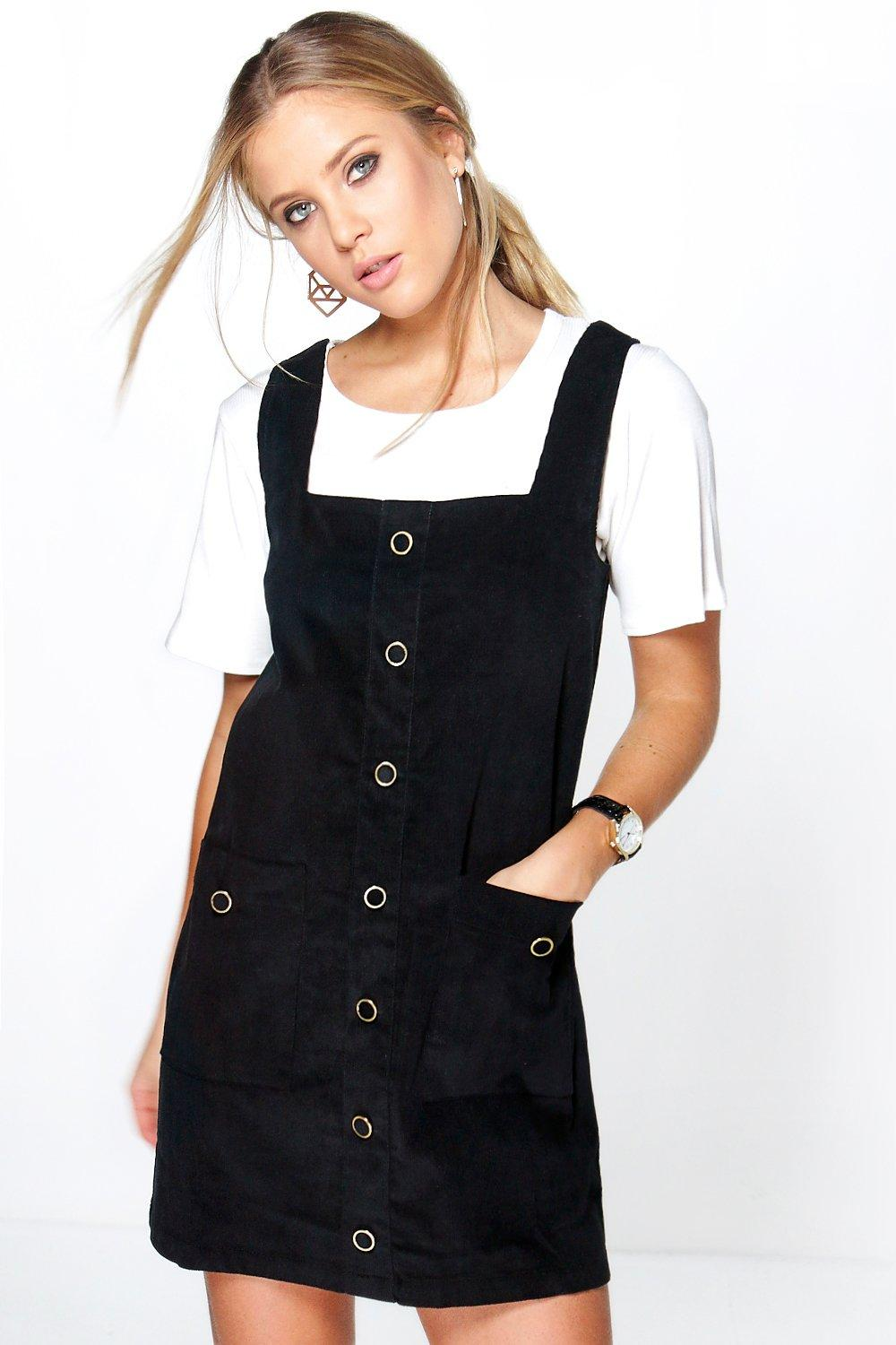 Cord Pocket Pinafore Dress black