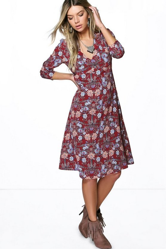 Sophia Floral V Neck Gypsy Dress