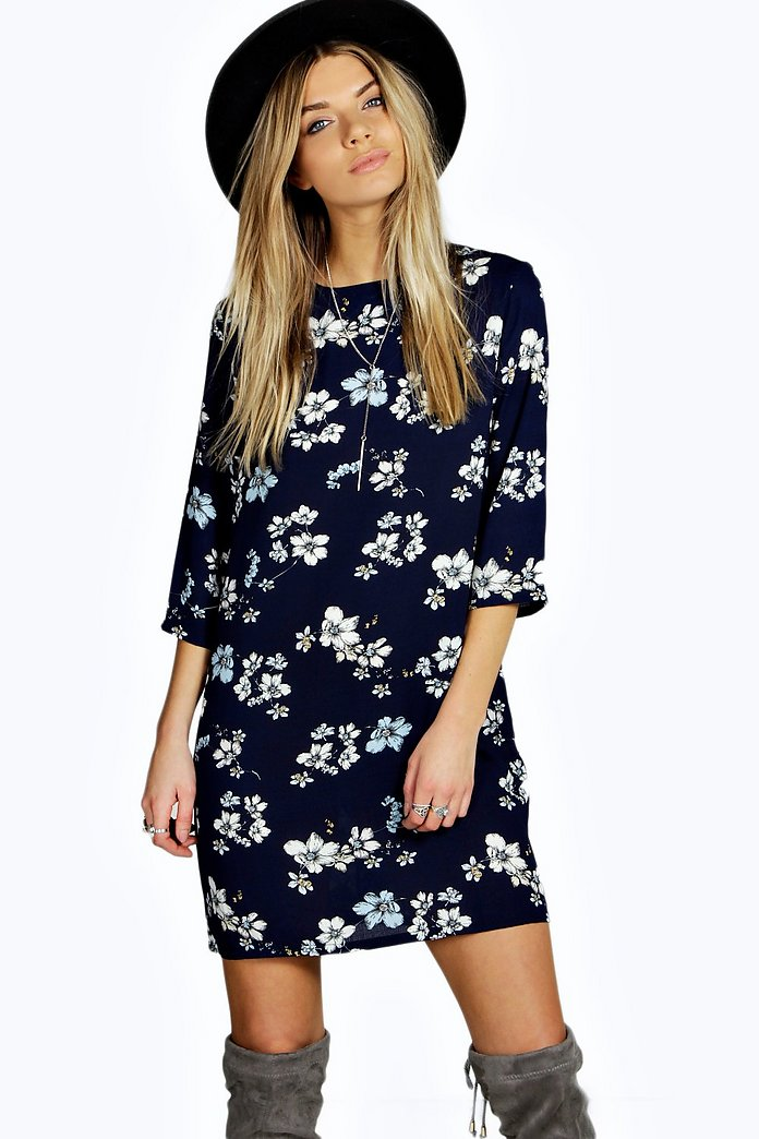 Lucia Floral Print 3/4 Sleeve Shift Dress