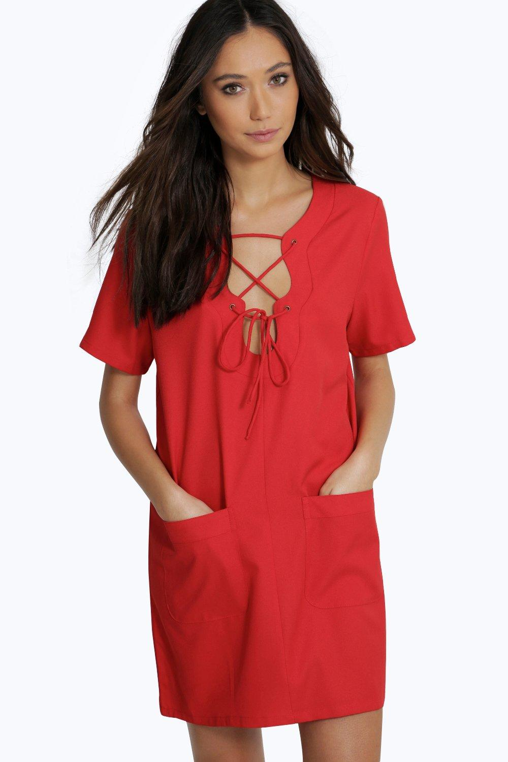 Leanne Lace Up Eyelet Crepe Dress