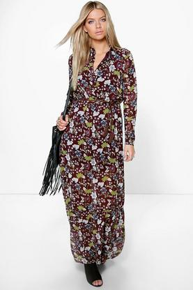 Lucia Bohemian Floral Plaited Belt Maxi Dress