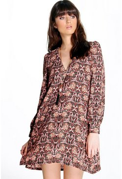 Sophia A-Line Floral Printed Shift Dress