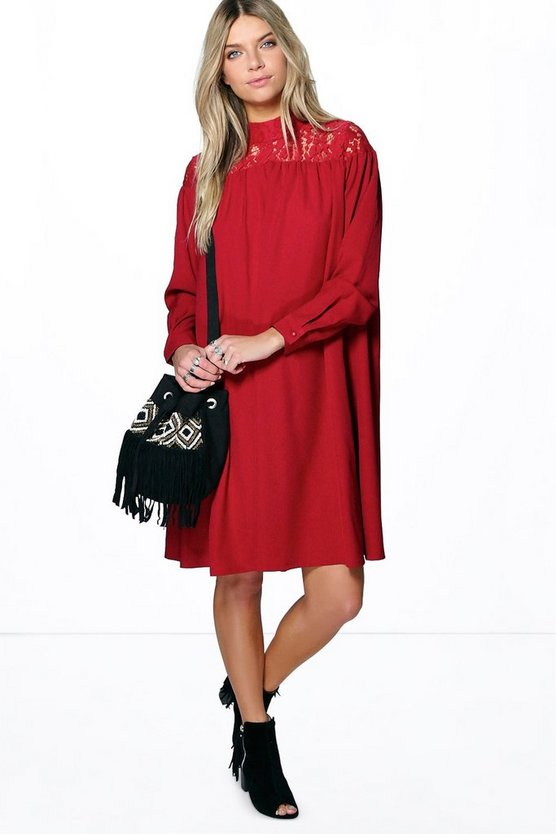 Arabella Lace Panel Smock Midi Dress