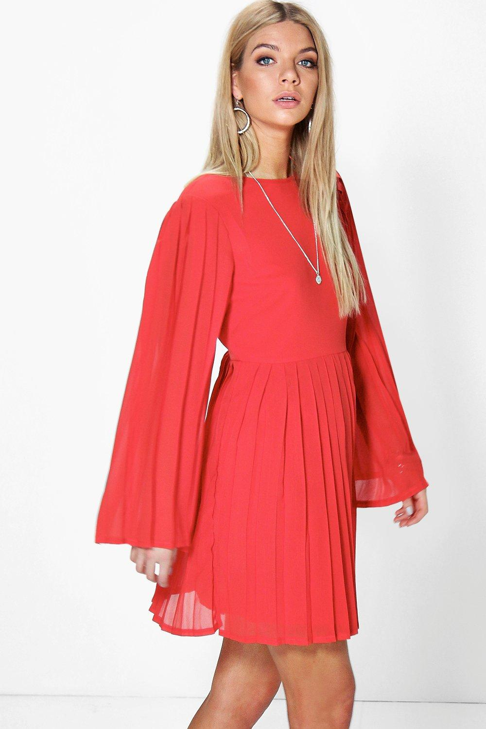 Ria Keyhole Pleated Wide Sleeve Skater Dress