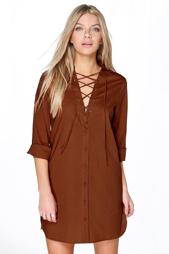 Hannah Lace Up Collar Cotton Shirt Dress
