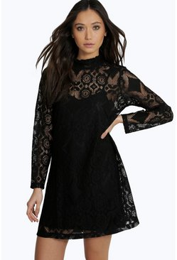 Savannah Lace High Neck Shift Dress