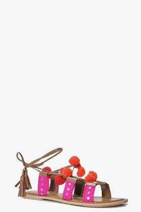 Boutique Bella Pom Trim Tie Sandal