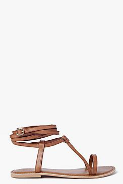 Boutique Orla Wrap Strap Leather Ghillie Sandal