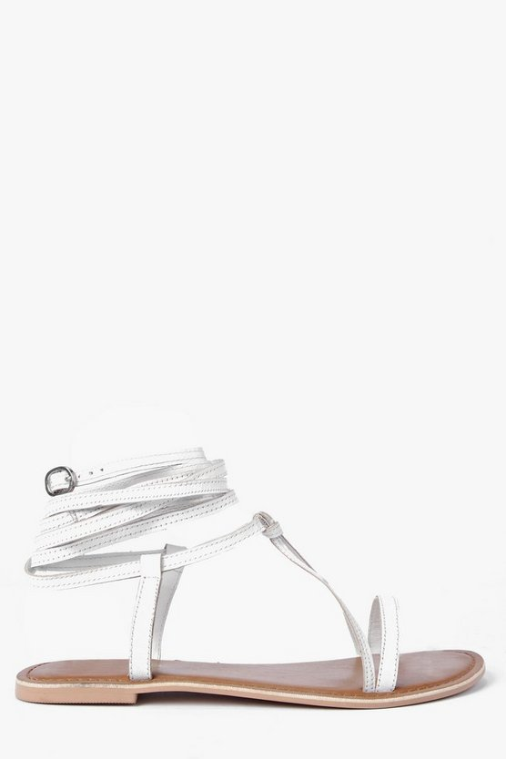 Boutique Orla Wrap Strap Leather Ghillie Sandals