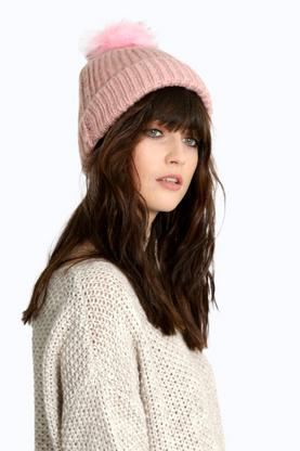 Lucy Faux Fur Pom Knitted Beanie