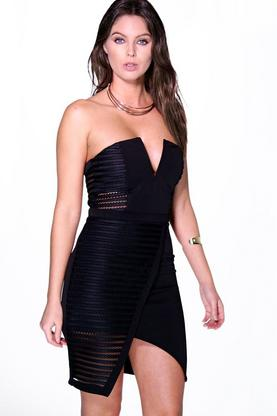 Sophie Mesh Panelled Bandeau Bodycon Dress
