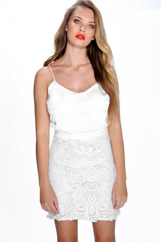 Amy Corded Lace Skirt Cami Bodycon Dress