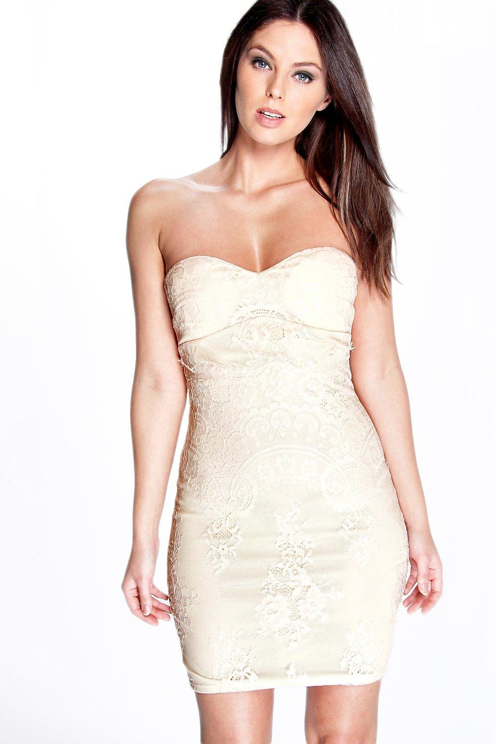 Hazel Eyelash Lace Bandeau Bodycon Dress