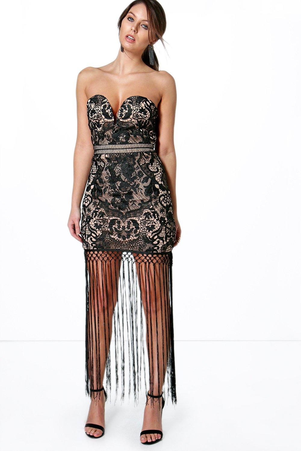 Boutique Rose Corded Lace Fringe Hem Maxi Dress