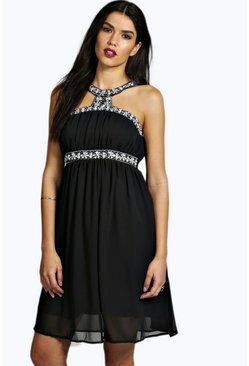 Laura Beaded Neck Trim Skater Dress
