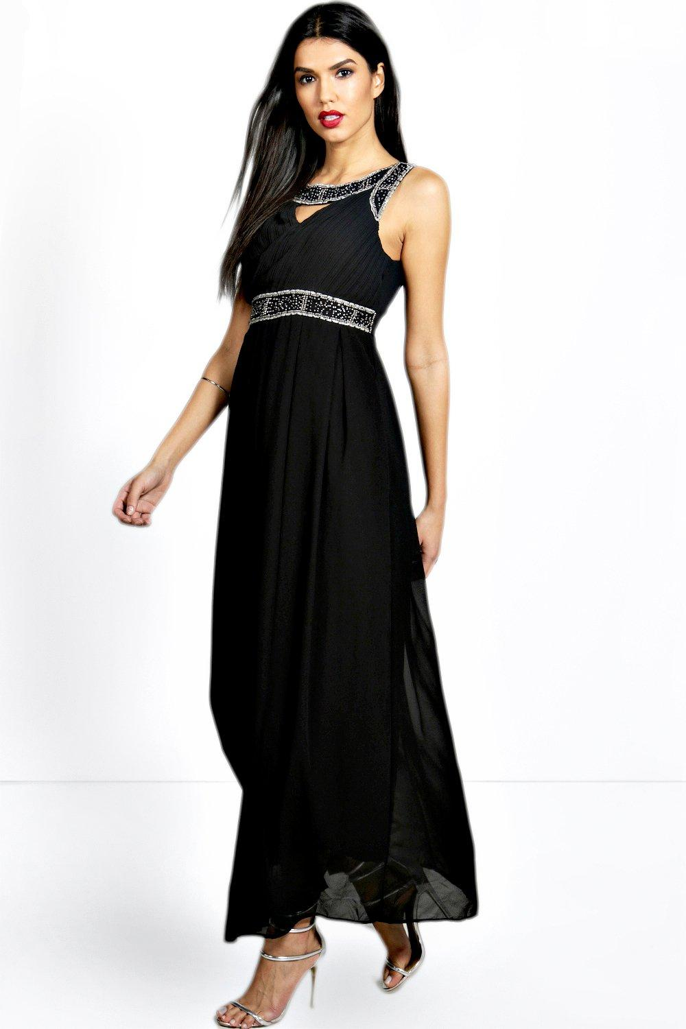 Lastest  About Boohoo Womens Boutique Rosa Embellished Chiffon Maxi Dress