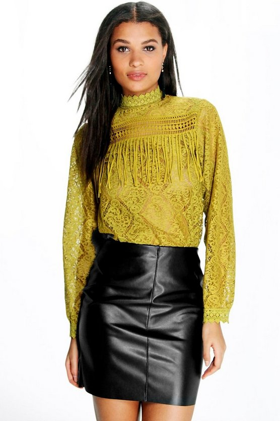 High Neck Lace Tassel Trim Blouse