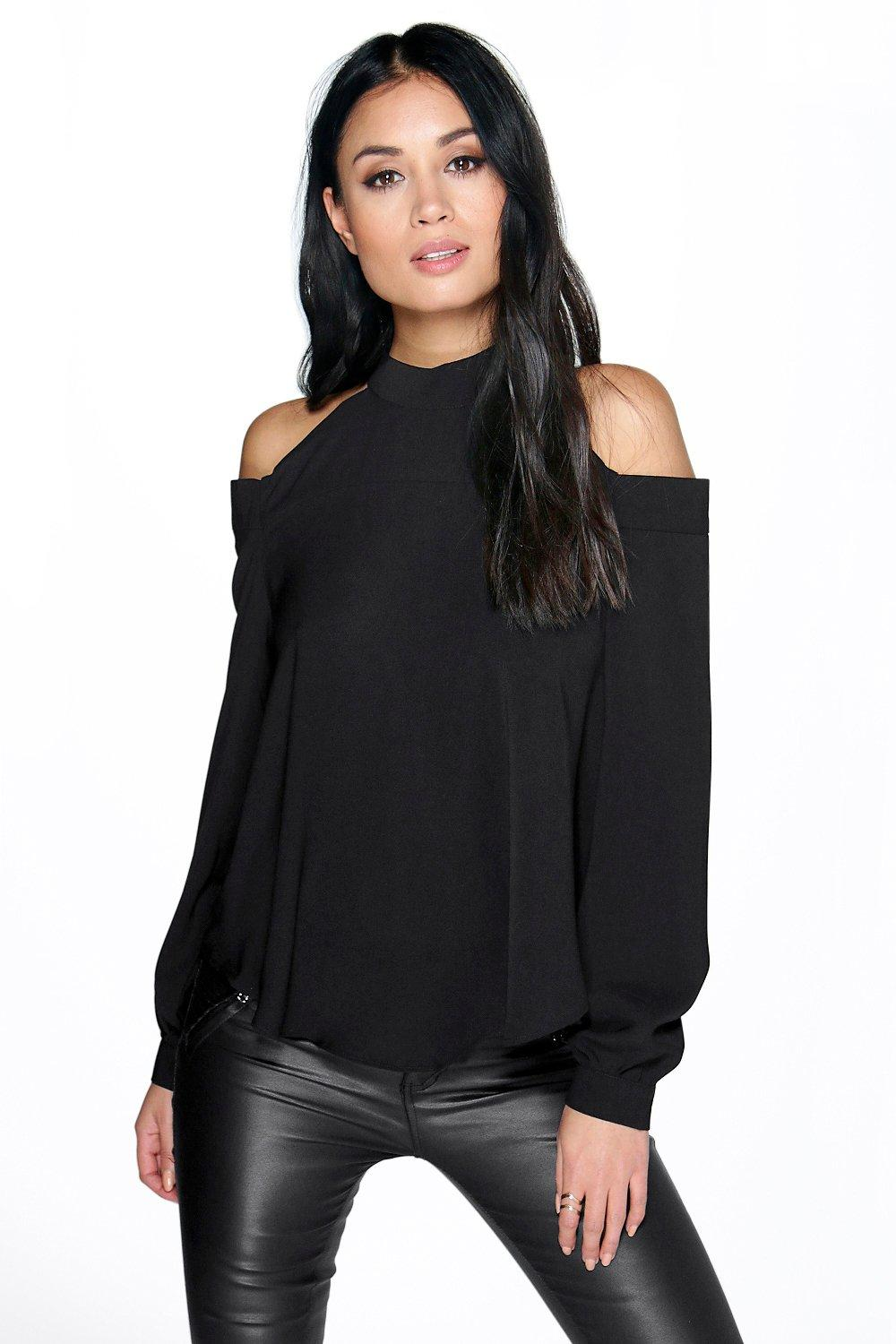 Rose Open Shoulder High Neck Blouse