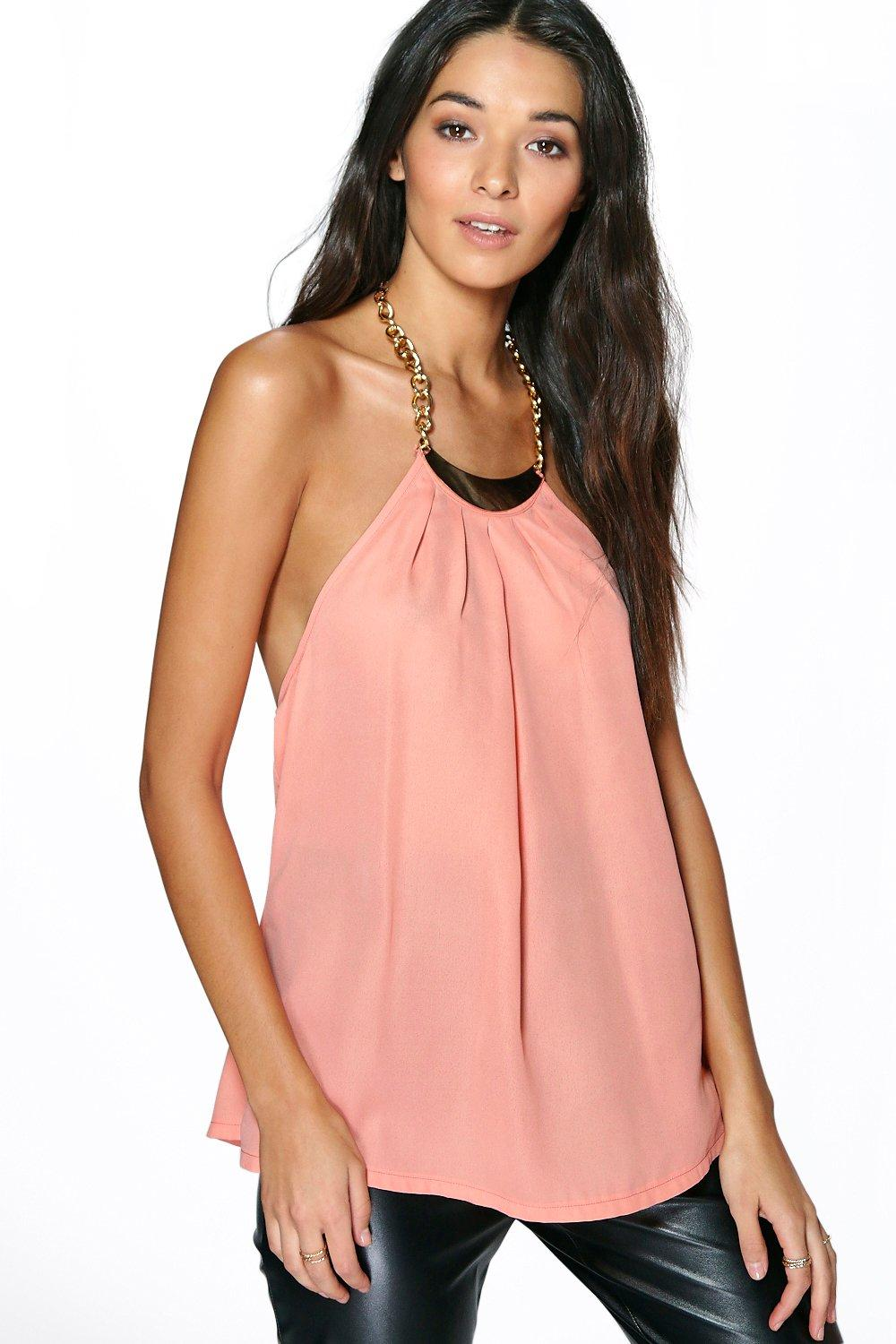 Lola Chain Neck Detail Woven Swing Cami