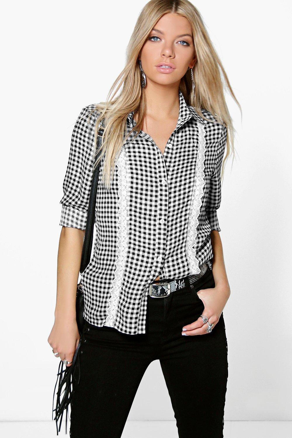 Sophie Gingham Lace Trim Shirt