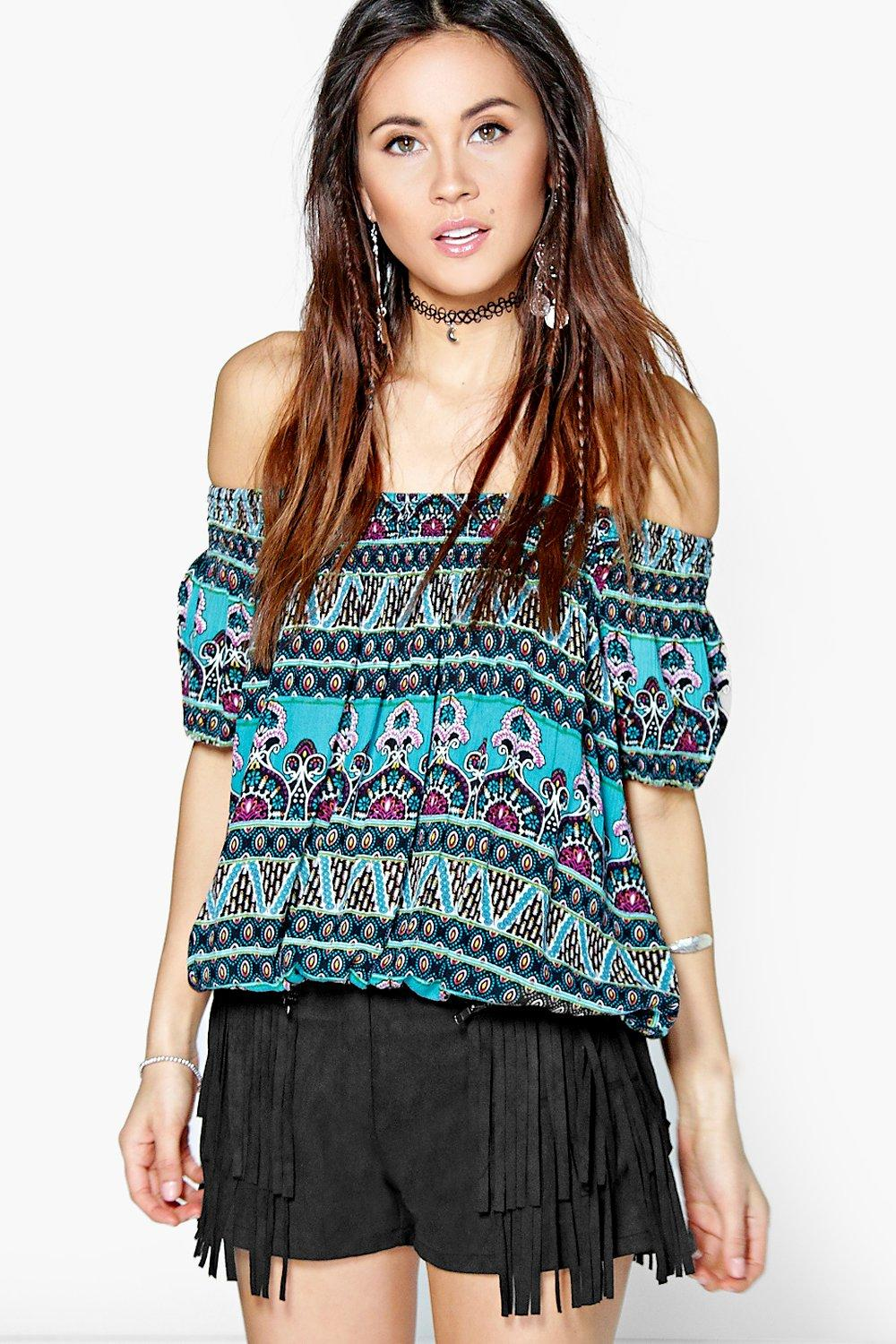 Katie Paisley Print Woven Off The Shoulder Top