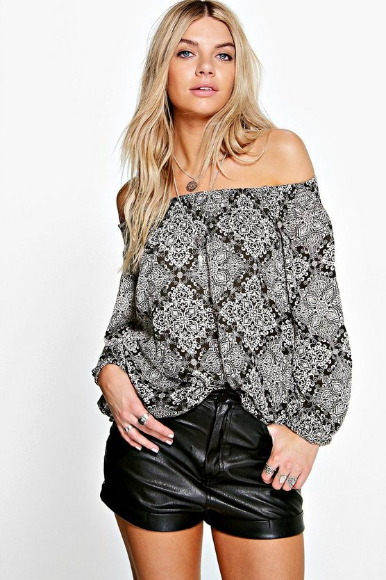Polly Paisley Woven Off The Shoulder Top