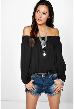 Liza Woven Crinkle Off The Shoulder Top