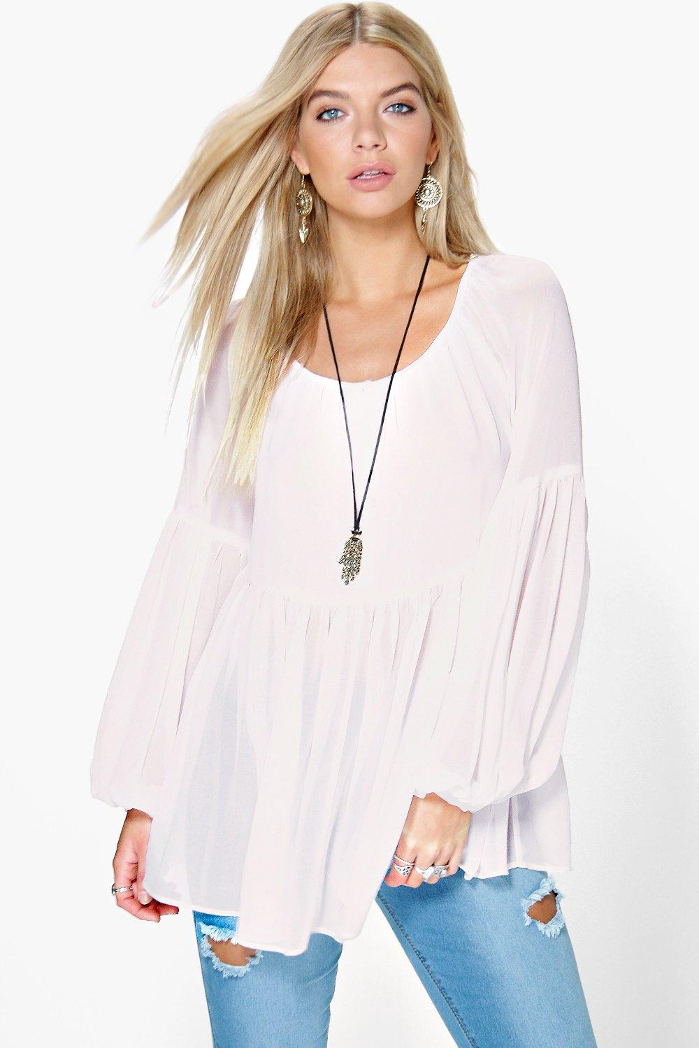 Mary Woven Wide Sleeve Smock Top