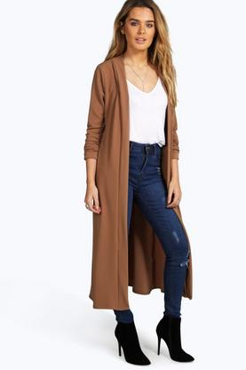 Maria Collarless Turn Up Sleeve Duster