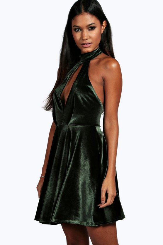 Maya Velvet Cut Out Plunge Skater Dress