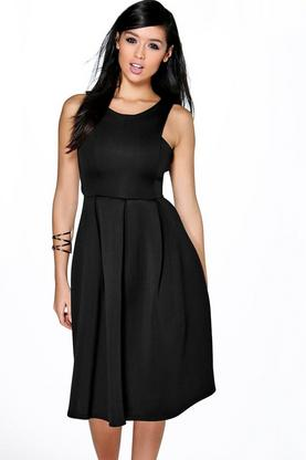 Leah Cutaway Neck Bonded Scuba Midi Dress