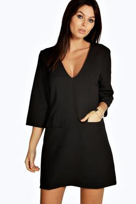 Giovanna Plunge Pocket Front Shift Dress