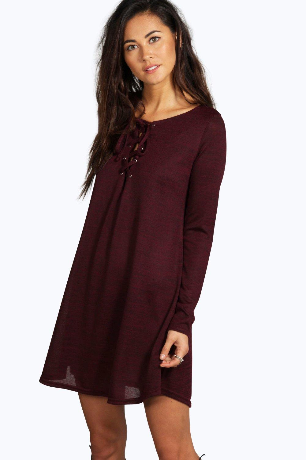 Hayley Long Sleeve Lace Up Swing Dress