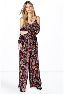 Abbie Open Shoulder Paisley Wide Leg Jumpsuit