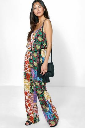 Aileen Mixed Print Wide Culotte Jumpsuit