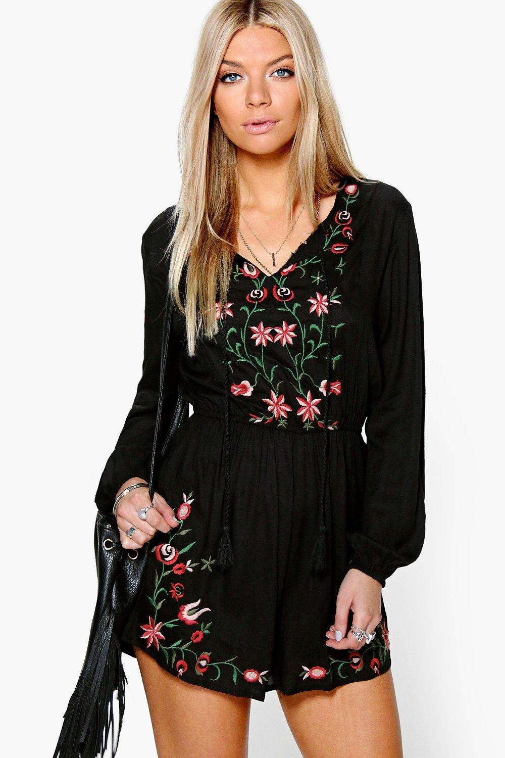 Bet Embroidered Full Sleeve Smock Playsuit