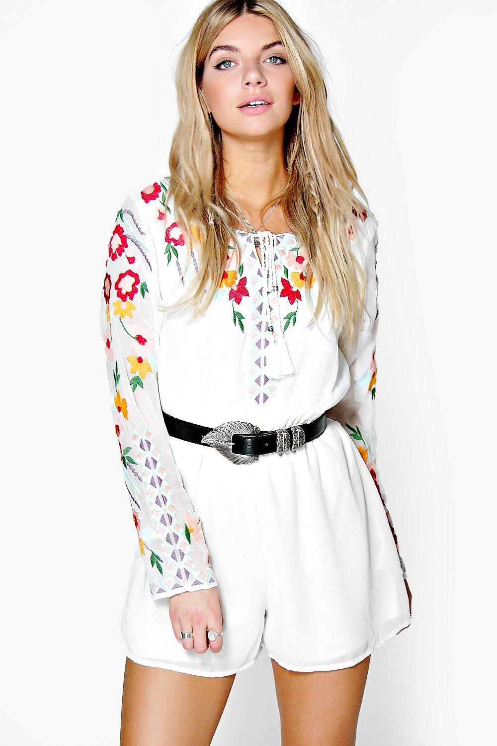 Boutique Cara Embroidered Tassel Playsuits