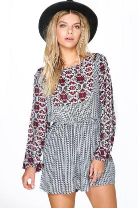 Leanne Mixed Print Smock Style Playsuit
