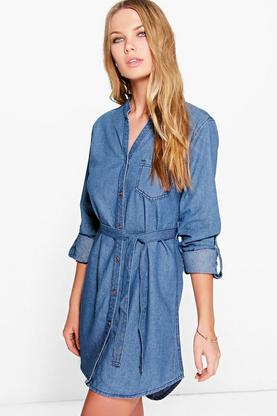 Sophie Tie Waist Grandad Collar Shirt Denim Dress