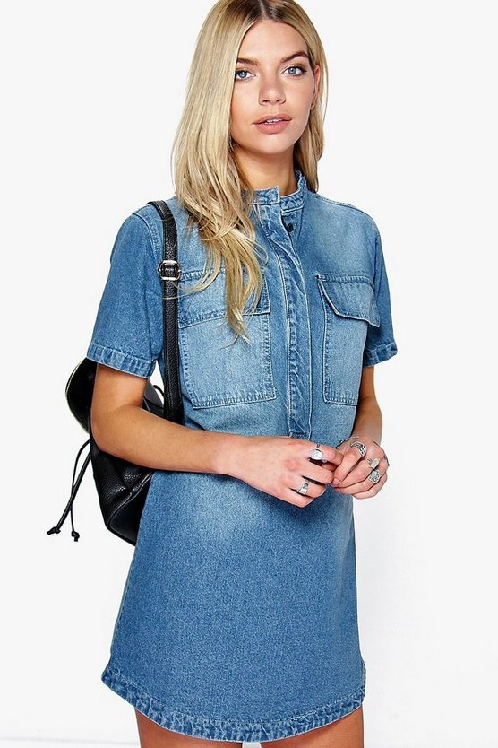 Sofia Short Sleeve Utility Denim Shirt Dress
