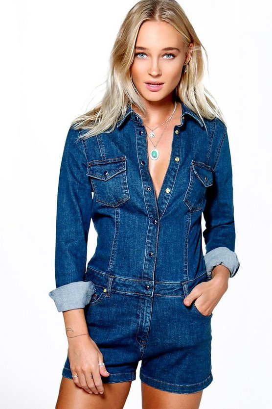 Emma Long Sleeve Button Through Denim Playsuit