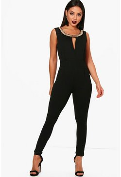 Boutique Zoe Necklace Trim Skinny Leg Jumpsuit